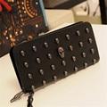 2016 горячая распродажа женщины кошельки металла череп бумажник карты кошелек кожаный браслет Portefeuille сумки Carteira Feminina