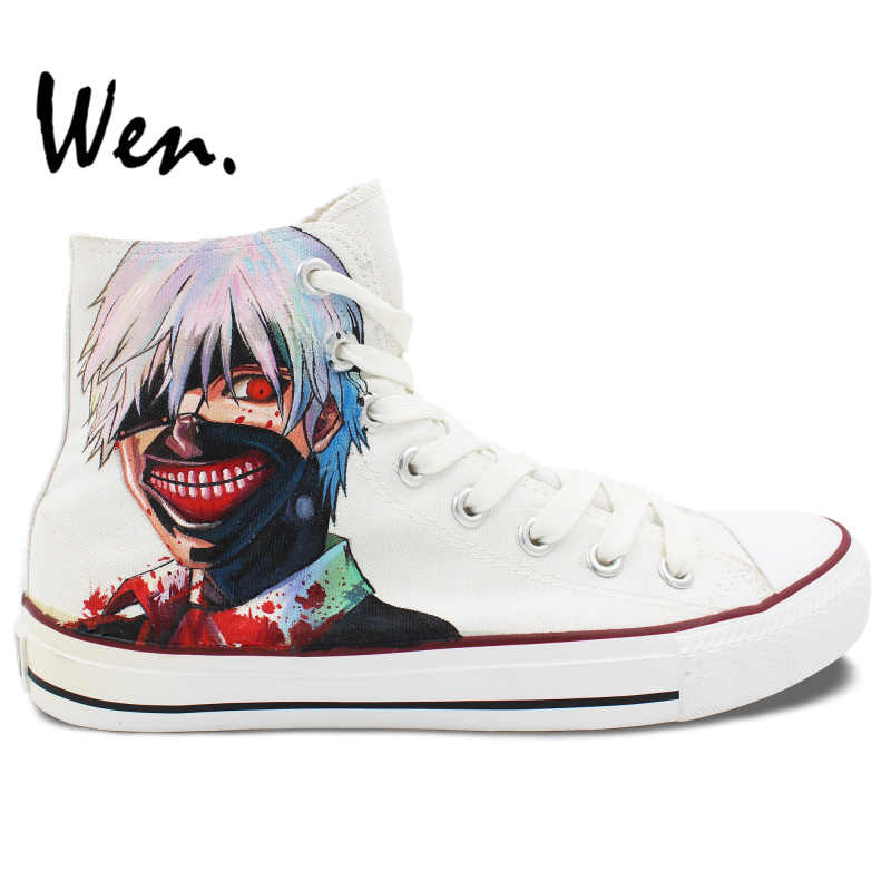 Wen Hand Painted Shoes White Design Custom Sneakers Tokyo Ghouls Anime High Top Men Women's Canvas Sneakers Birthday Gifts