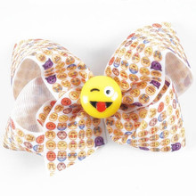 120pcs lot Emoji Hair Bow Emoji Bows Emoji Gifts Emoji Party Hairbow