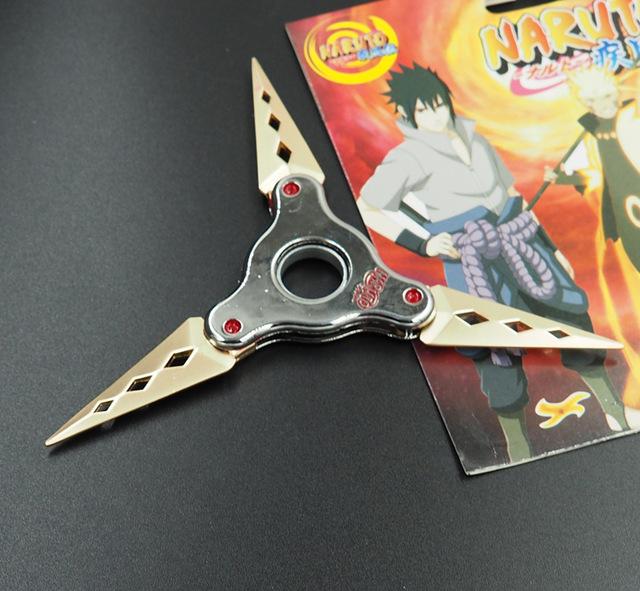 Naruto shuriken dobrável girando, dardos de rotação do rolamento, cos adereços, Anime arma modelo brinquedos, faca de brinquedo, presentes para as crianças.