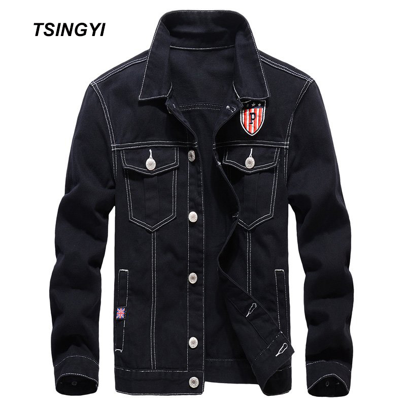 Tsingyi Casual 100% Cotton Wash Black Denim Jacket Men Slim Fit Turn-down Collar Long Sleeve Bomber Jeans Jackets for Men Coats