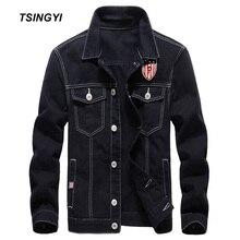 Tsingyi Kasual 100% Katun Mencuci Hitam Denim Jaket Pria Ramping Fit  Turn-down Kerah Lengan Panjang Jeans Jaket Bomber untuk Pri. a7c6e277cc