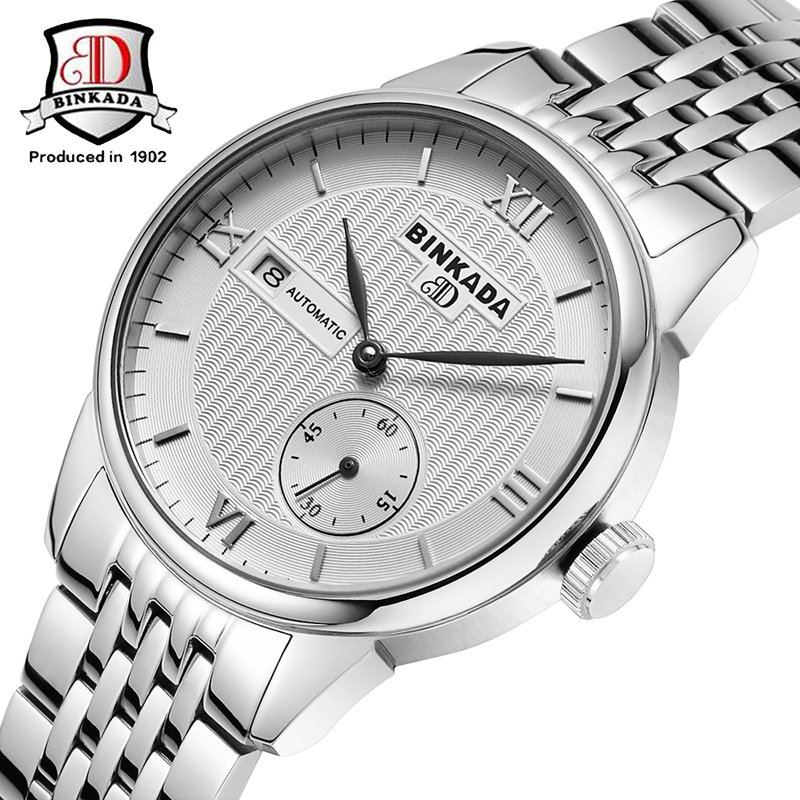 Fashion BINKADA Brand Small Second Dial Watch Automatic Men Wristwatch Sapphire Men Mechanical steel Watches relogio masculino new binkada men s automatic mechanical watches black dial stainless steel strap hand wind male wristwatch relogio masculino