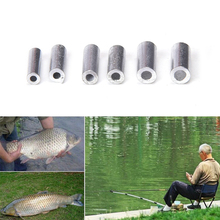 100PCS Stainless steel fishing line Aluminum Crimp sleeve copper tube sea fishing accessories fishing line tube 1.0-2.0mm