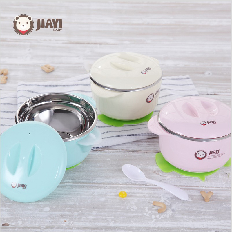 Baby Bowl Set Feeding Cup Suction Plate BPA Free 304 Stainless Steel Bowl With Spoon Lid Filling Water Keep Warm kids Dinnerware cute bear bowl with lid