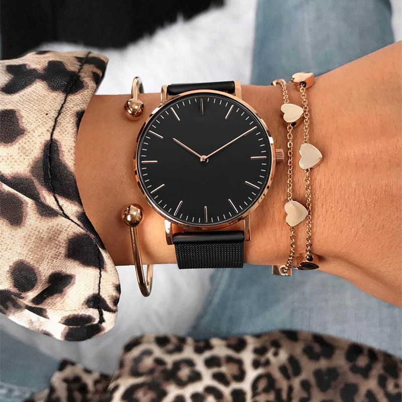 Us 9 72 30 Off Mavis Hare Rose Gold Black Mesh Bracelet Stainless Steel Feliz Wrisch Woman Watches With Matching Bracelets As Gift In