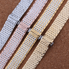 9 perlas alta calidad marca Watch banda correas pulsera de la mariposa hebilla correa de acero inoxidable hombres mujeres 13 mm 18 mm promoción