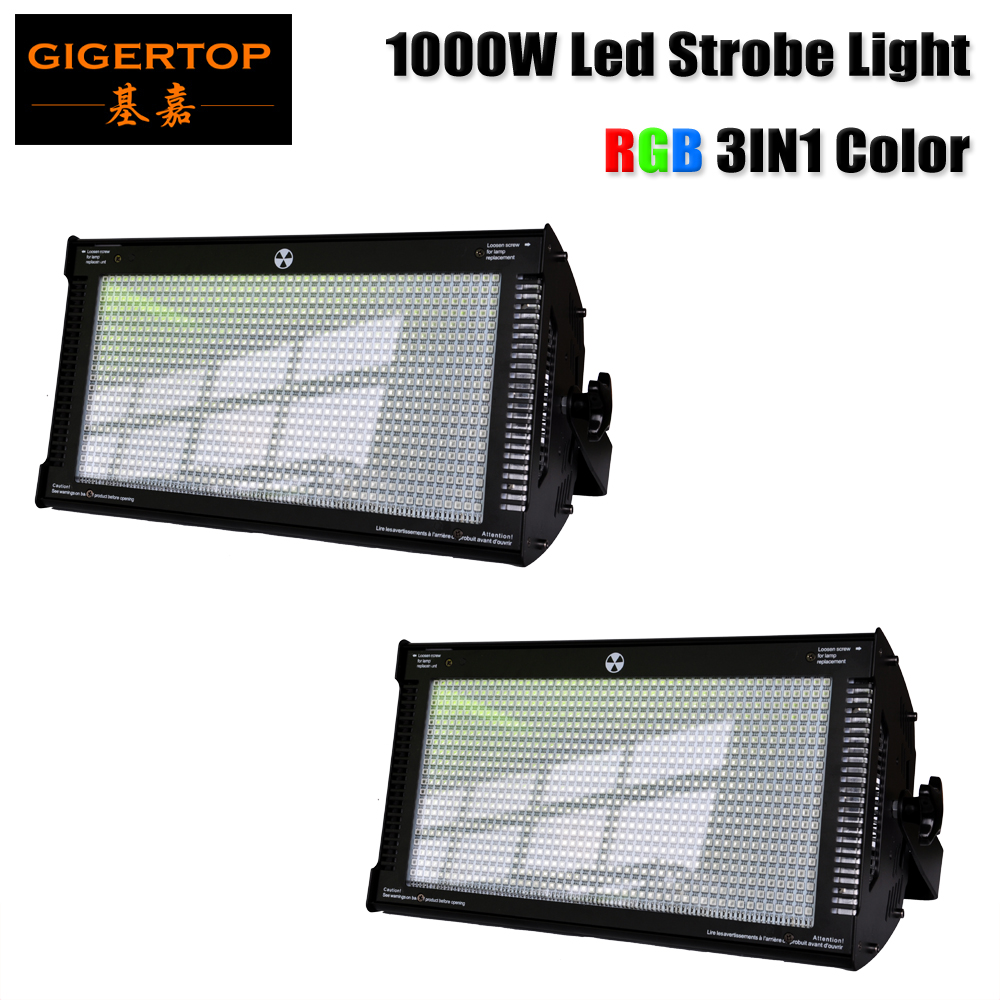 Freeshipping 2 Unit 1000W LED RGB Strobe Light 3 Color Professional Strobe Lighting Stage Party Bar Music Active CE ROHS