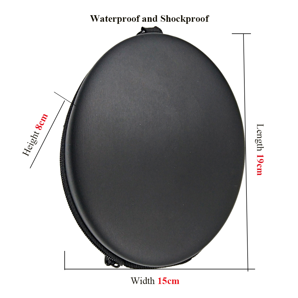 Купить с кэшбэком Headphones Protection Box Oval Shockproof Waterproof Hard Carrying Case With Safety Buckle Zipper Large Storage Boxes 19*15*8cm