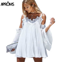 Aproms Sexy Flare Sleeve White Lace Dress 2017 Summer Short Black Women Dress Shirt Long Sleeve