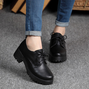 Image 2 - OUKAHUI Spring\Winter British Style Leather Shoes Women Square Heel Flat Platform Shoes Woman Lace Up Oxford Shoes For Women