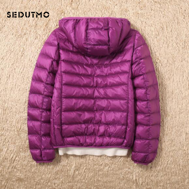 SEDUTMO Winter Duck Down Coat Women Ultra Light Hooded Jackets Two Side Wear Coat Spring Puffer Jacket ED602 4