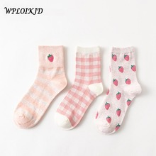 [WPLOIKJD]3 Pairs Autumn Winter Jacquard Embroidery Strawberry Fruit Women Socks