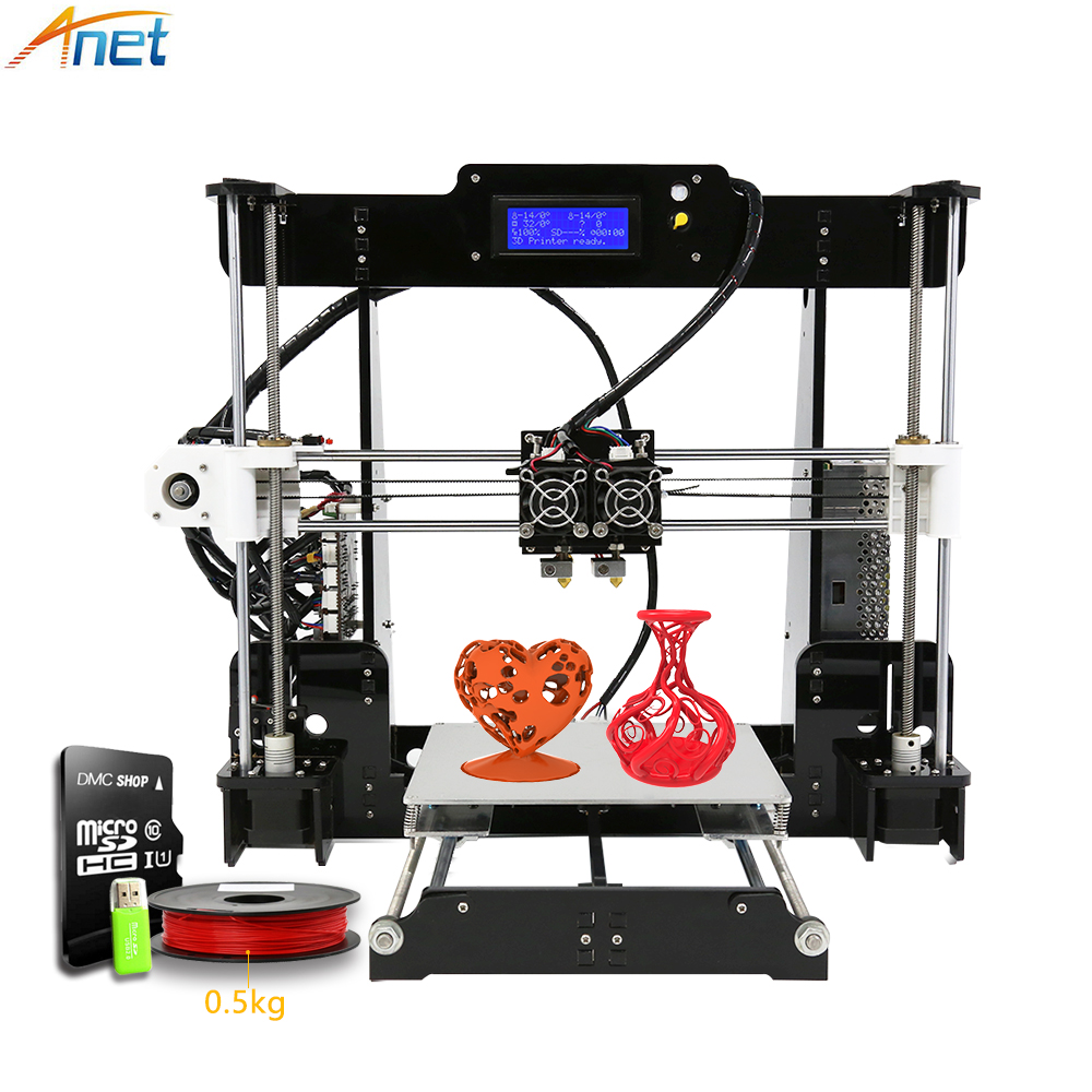 Anet A8M 3D Printer Kit Dual Print Head Large Build Size DIY Desktop Multi-color Filament with SD Card Heated Bed Free Filament din rail three phase kwh energy meter digital 5 to 30 ampere 5 30 watt lcd 380v power meter watt meter energy meter
