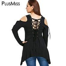 05835735738d5 PlusMiss Plus Size 5XL Lace Up Sexy Open Shoulder Tunic Tops Female Big Size  Black Long Sleeve Blouse Autumn 2018 XXXXL XXXL XXL