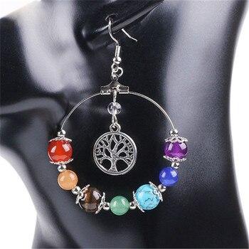 7 árbol de Chakra DE LA VIDA 3D encantos coloridos cuentas de piedra pendientes para mujer niñas largo colgante joyería para las orejas regalo