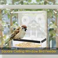 New Transparent Acrylic Weatherproof Bird Feeder Ceiling Window Adsorption House Shape Squirrel Proof Birds Feeder Dropshipping