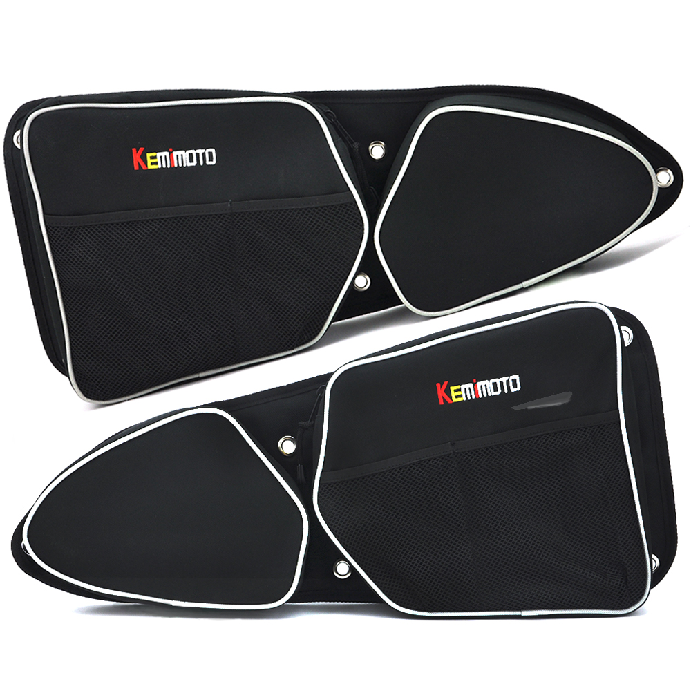 KEMiMOTO UTV for Polaris RZR XP 1000 900 X Left Right Side Door Bag Knee Protection for Can-Am Commander 1000 Side Storage Bag