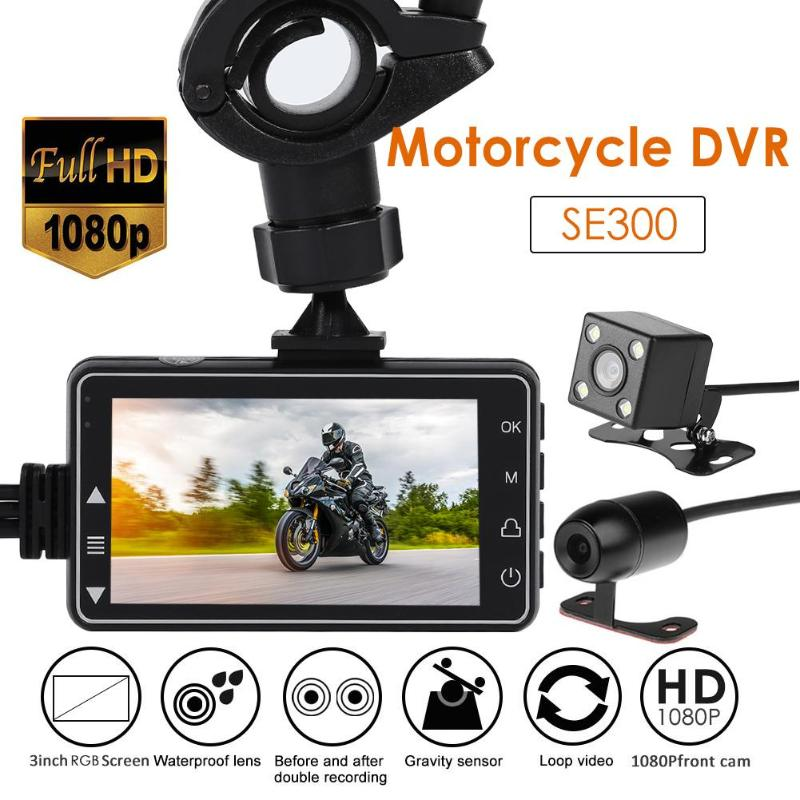 HD Motorcycle DVR Camera HD Screen RGB Front+Rear View Motorcycle Dash Cam Video Recorder Motorbike Electronics