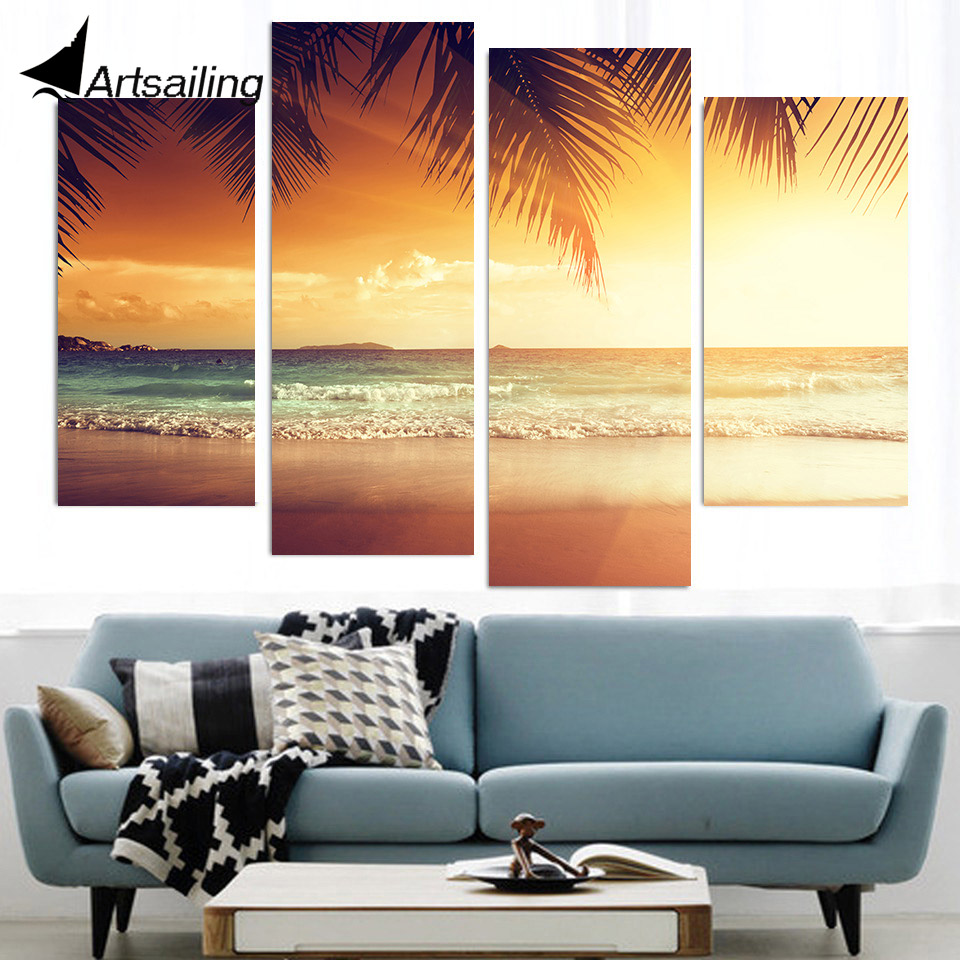 Aliexpress.com : Buy 4 Pcs Canvas Art Canvas Painting Tropical ...