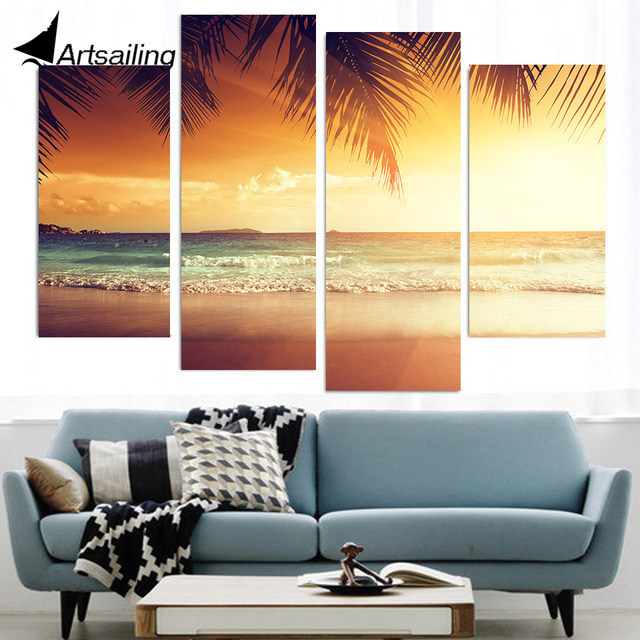 4 Pcs Canvas Art Canvas Painting Tropical Sunset Sea HD Printed Wall ...