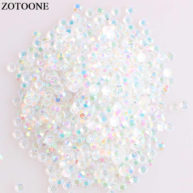 Zotooone SS6 50Pcs Hotfix Kristal Flatback Berlian Imitasi Besi Pada Kristal Batu Horse Eye Acrylic Berlian Imitasi untuk Pakaian DIY Kerajinan