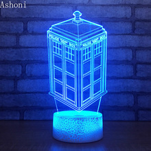 Doctor Who Tardis Police Box 3D Colorful Table Lamp 7 Color Changing Acrylic Night Light USB Decorative Christmas Gifts for Kids