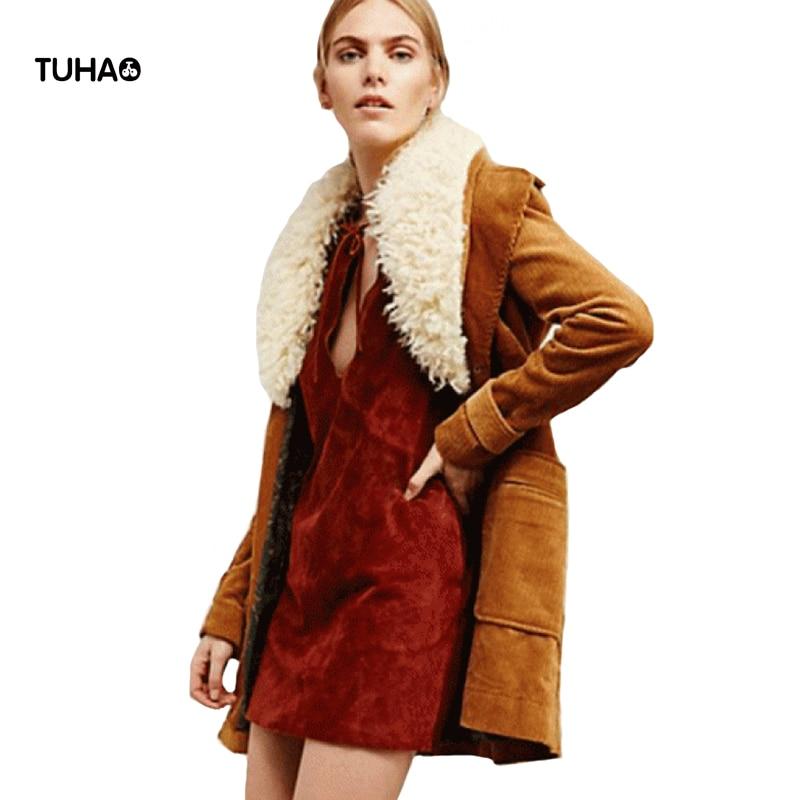2017 Ретро зимняя куртка Для женщин карман съемный меховой воротник с длинным рукавом Повседневное верхняя одежда jaqueta feminina casaco feminino t80870