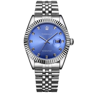 Image 1 - TORBOLLO Brand New Quartz Watch Men Silver Blue Date Analog 3ATM Waterproof Mens Wrist Watch relogio masculino With original box