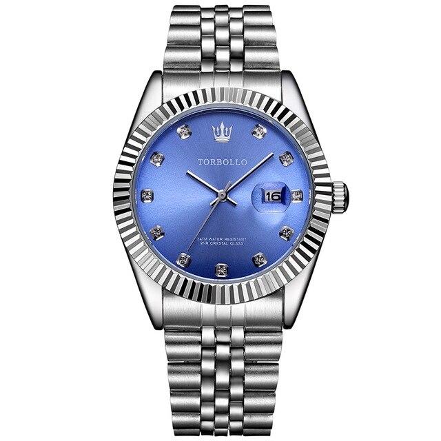 TORBOLLO Brand New Quartz Watch Men Silver Blue Date Analog 3ATM Waterproof Mens Wrist Watch relogio masculino With original box