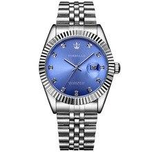 นาฬิกาข้อมือTORBOLLOยี่ห้อใหม่ควอตซ์นาฬิกาผู้ชายSilver Blueวันที่Analog 3ATMกันน้ำMensนาฬิกาข้อมือนาฬิกาRelogio Masculinoเดิมกล่อง