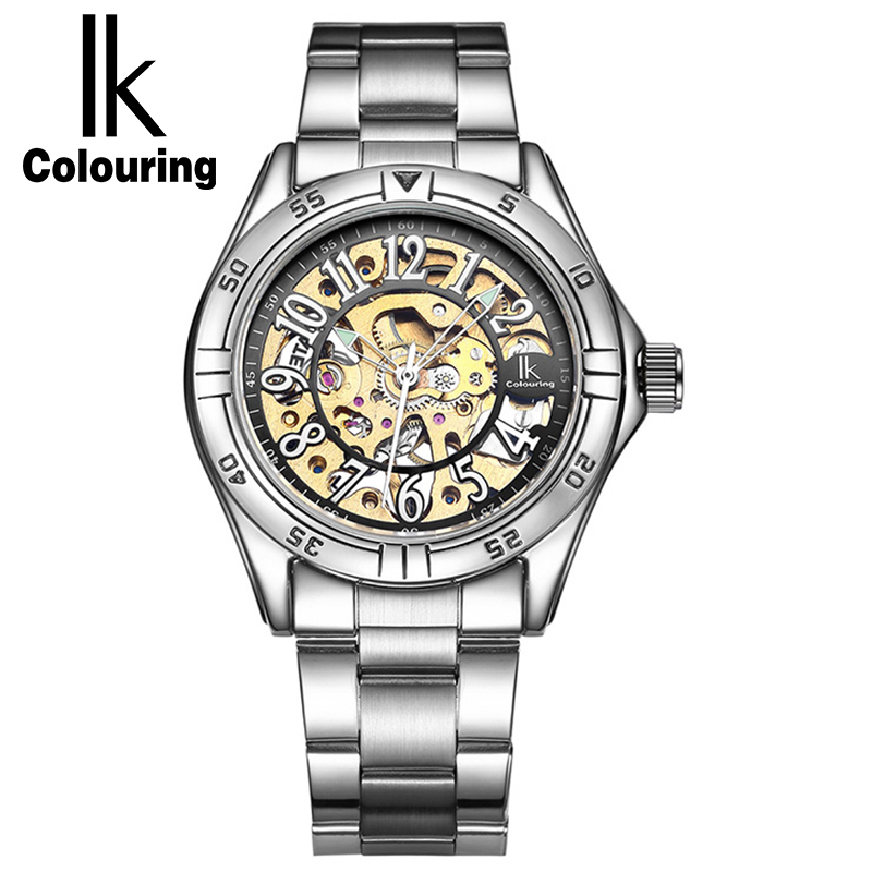 IK Colouring Luxury Men Watches Hand Wind Mechanical Watch Full Steel Fashion Casual Male Clock Sport Wristwatch Relojes Hombre fashion men mechanical hand wind watches men skeleton stainless steel wristwatches for male luxury golden watch men