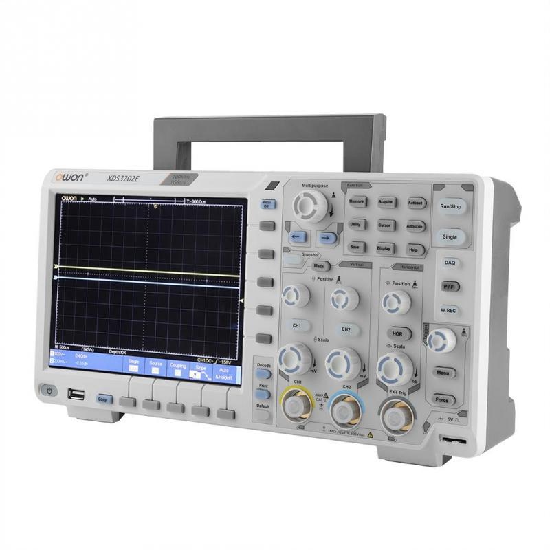 AC 100 240V XDS3202E Oscilloscope 200MHz Bandwidth 8 in LCD Oscilloscope Decoding Standard EU Plug