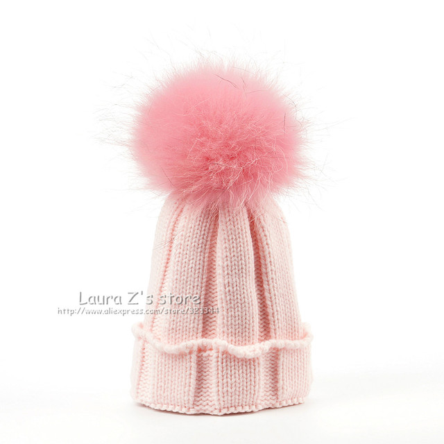ec967193a5d LAURASHOW Children Winter Raccoon Fox Fur Hat Girls Boys 100% Real Fur  pompoms Ball Baby Beanies Cap Crochet Kids Knitted Hats