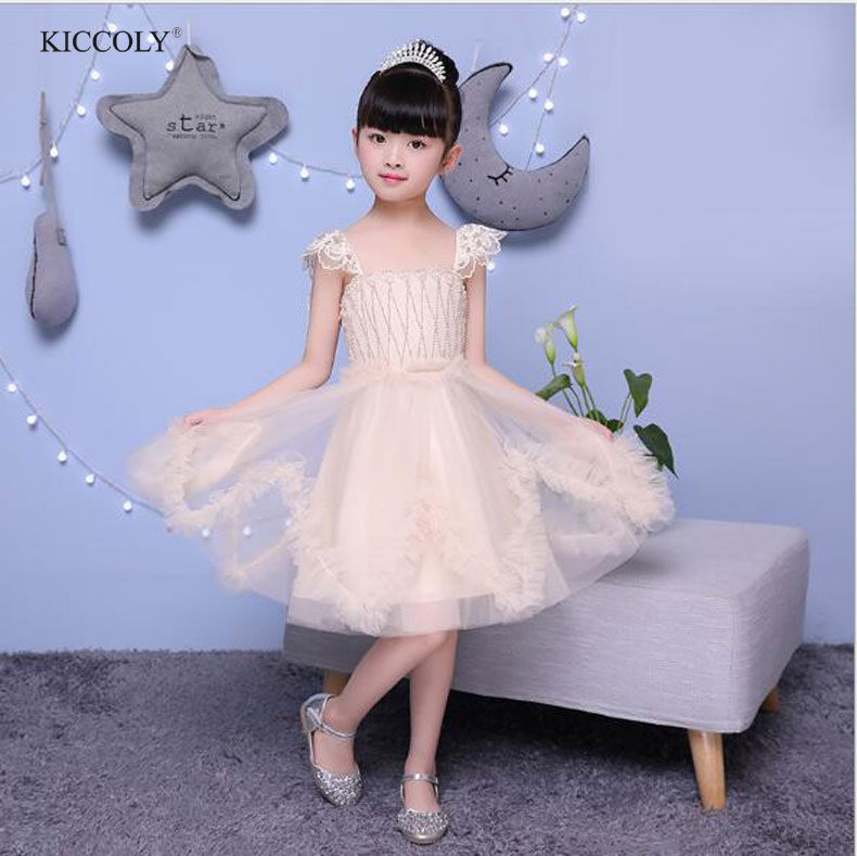 KICCOLY 2018 Summer Fashion Champagne Hand-beaded Baby Girls Dress Children Princess Wedding Party sleeveless TuTu Dresses 2-12T fashionable sleeveless beaded skinny slimming women s dress