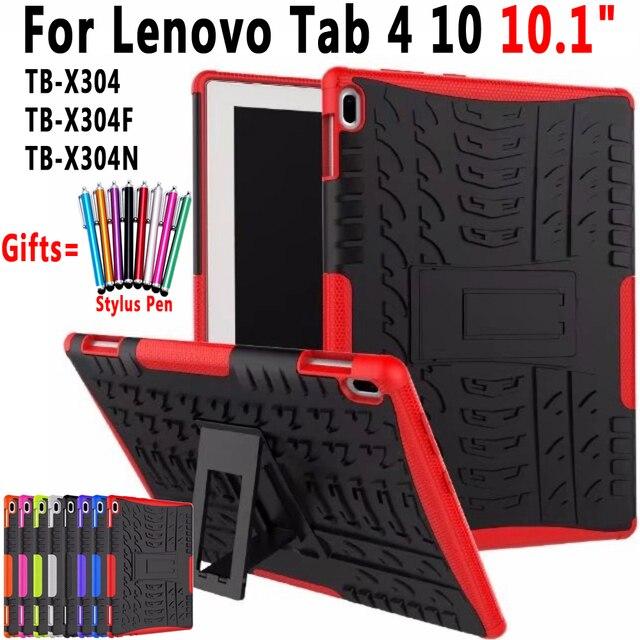 Funda para Lenovo Tab 4 10 10,1 TB-X304 TB-X304F TB-X304N funda resistente 2 en 1 silicona híbrida TPU + funda de PC