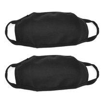 2 Pcs Cotton Blend Anti Dust Face Mouth Mask Black for Man Woman