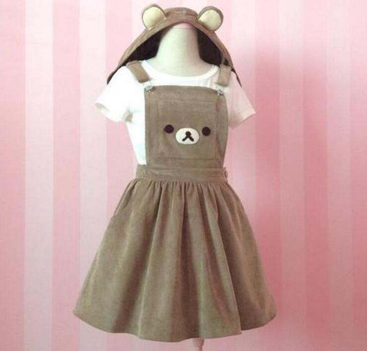 Sweet-Tempered Rilakkuma San-x Kawaii Gaun Salopette Beruang Bordir Lolita Keseluruhan Rok Et Chapeau Robe Cosplay Home