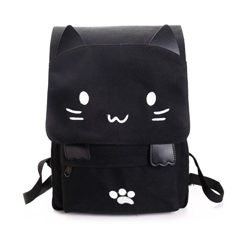 Cartoon Cat School Bag Girls Backpack Women Travel Bag Cavans Large Capacity Women Backpacks Black Cute Ear Bag Laptop Computer