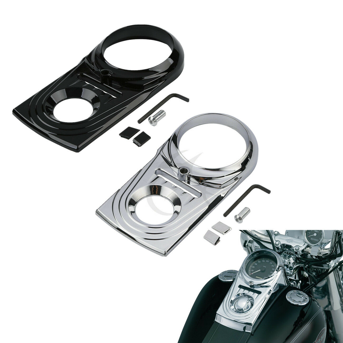 Black//Chrome Dash Panel Insert Cover For Harley Dyna Heritage Softail Fat Boy