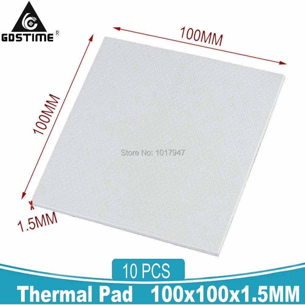 10 Pieces LOT 100x100x1.5mm GPU CPU IC Heatsink Cooling Thermal Conductive Silicone Pad 1.5MM