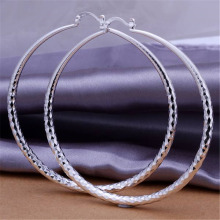 Elegant Silver Plated Big Circle Earrings Fashion Jewelry