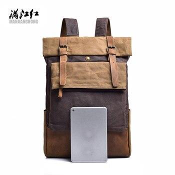 Men Backpack Vintage Canvas Backpack Male Travel Bags Large Capacity Crazy Horse Cowhide Laptop Computer Bag School Rucksack1548