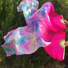 Wholesale dyed 100% pure natural silk fan veils for belly dance sexy 180cm long silk fan for dancer show on the stage A pair