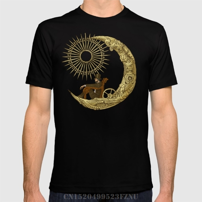 Весна Лето ограниченное время Мужская футболка Луна путешествия короткие с круглым вырезом хлопковые футболки Homme Костюмы