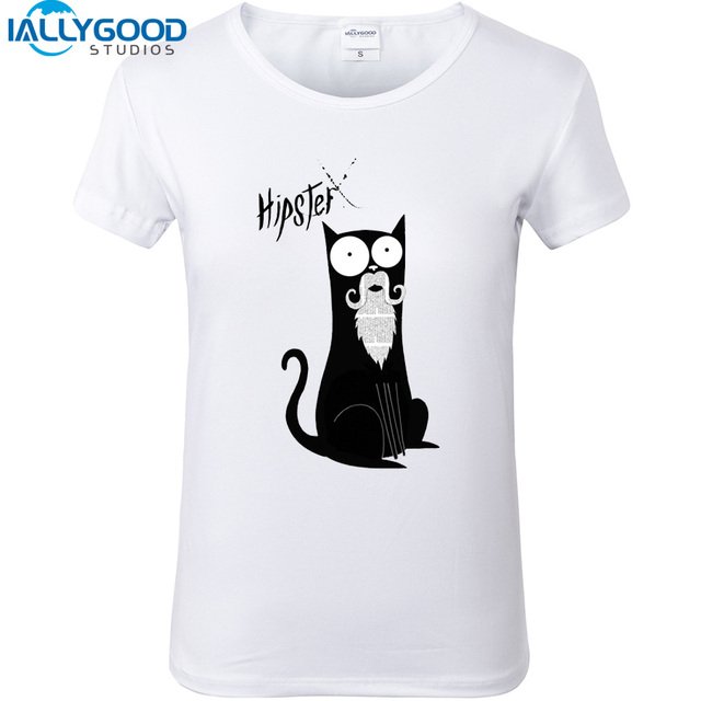 9a529bc8 New Summer Funny Black Cat T-shirts Women Harajuku Style Print Short Sleeve  Tops High Qual White T shirts Girl Casual Tops S371