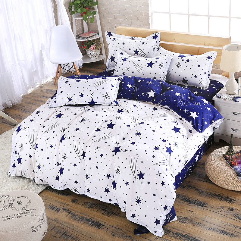 Blue Plus White Meteor Shower Pattern Four Sets Of Bedding Oversized Quilt + Bed + Pillowcase Comfortable Soft