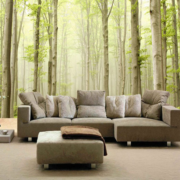 Env o libre de encargo grande bosque foto mural papel for Murales en 3d para salas