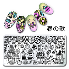 1Pc Rectangle Stamping Plate Cake Dessert Pattern Nail Art Stamp Template Image Plate Nail Tools Harunouta L021