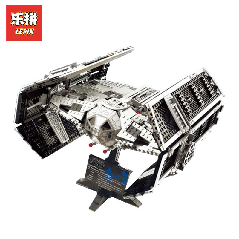 LEPIN 05055 1212Pcs Toy STAR Wars Vader TIE advanced fighter aircraft Model Building Kit Blocks Bricks Children LegoINGlys 10175 lepin 05055 1212pcs star wars vader tie advanced fighter building block toys figure gift for children compatible legoe 10175